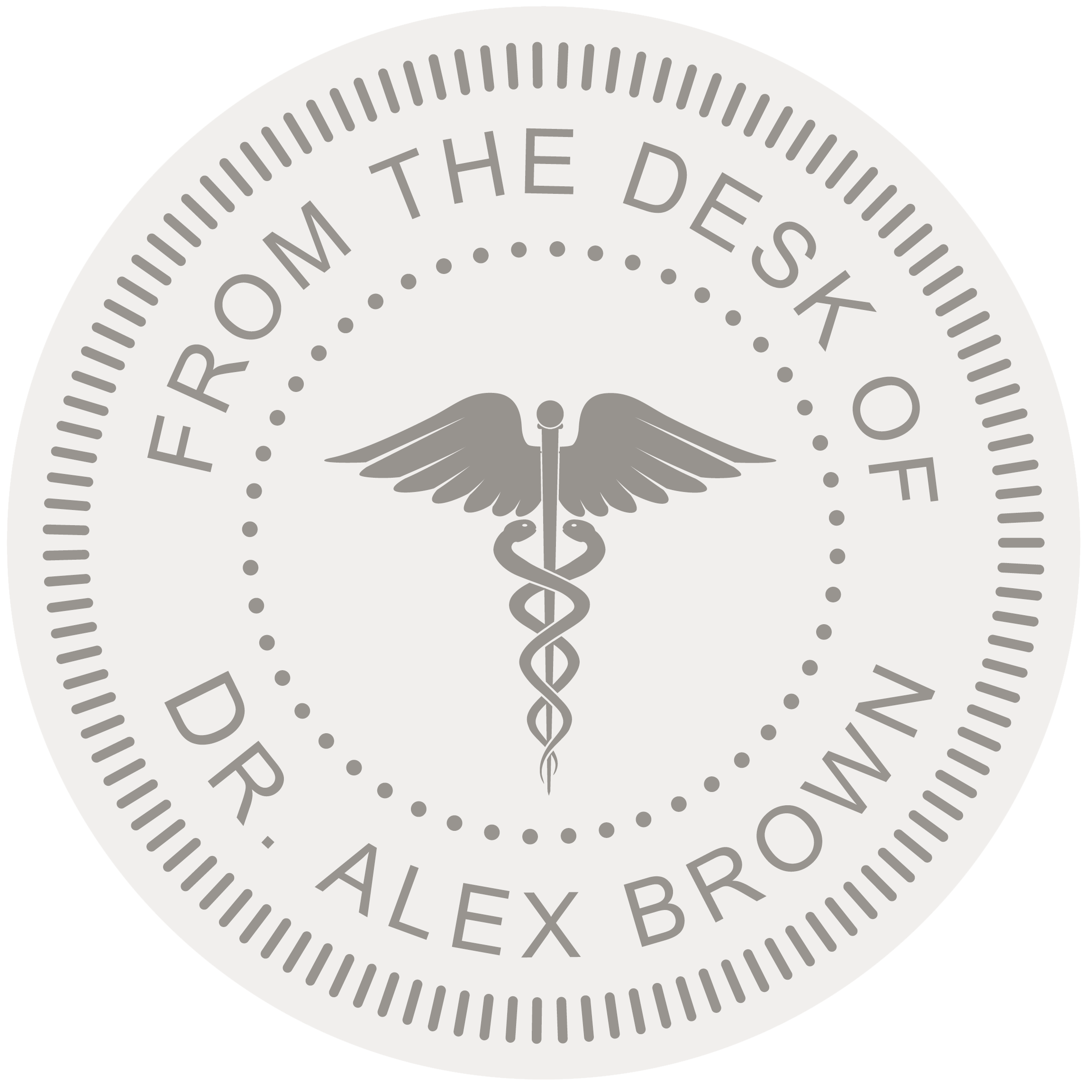 Round From The Desk of Dr. Alex Brown Stamp